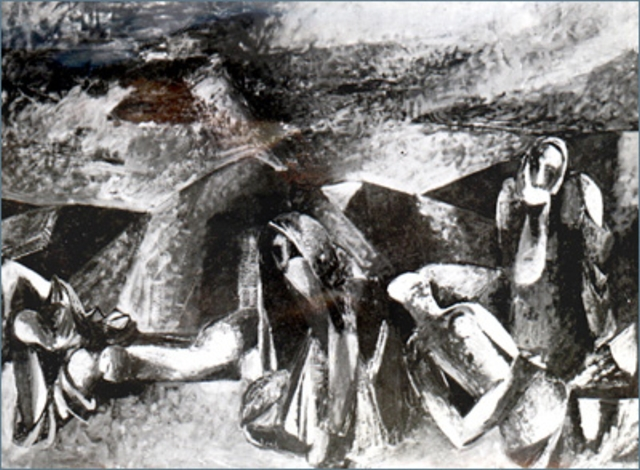 Deportation On the Road to Der-Zor. Βy Mina Avetissian. Courtesy National Gallery of Armenia